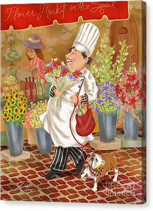 Chefs Go To Market II Canvas Print by Shari Warren