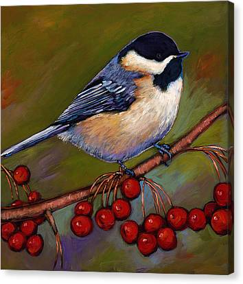 Cherries And Chickadee Canvas Print by Johnathan Harris