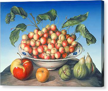 Cherries In Delft Bowl With Red And Yellow Apple Canvas Print by Amelia Kleiser