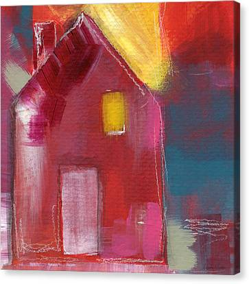 Cherry Blossom House- Art By Linda Woods Canvas Print by Linda Woods