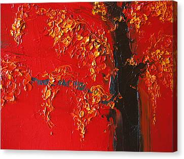 Cherry Blossom Tree - Red Yellow Canvas Print by Patricia Awapara
