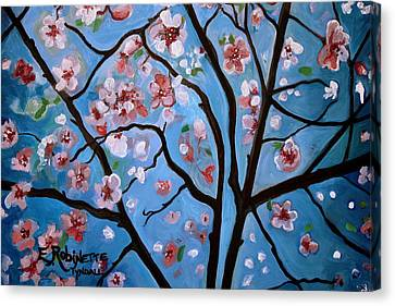 Cherry Blossoms In Bloom Canvas Print by Elizabeth Robinette Tyndall