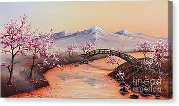 Cherry Blossoms In The Mist - Revisited Canvas Print by Joe Mandrick