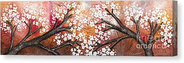 Cherry Tree In Red Canvas Print by Home Art