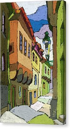 Chesky Krumlov Street Nove Mesto Canvas Print by Yuriy  Shevchuk