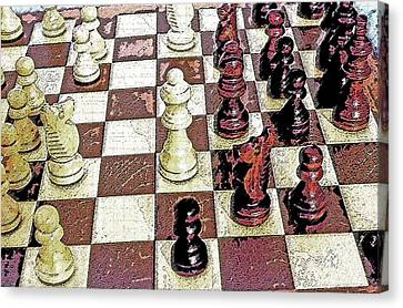 Chess Board - Game In Progress 1 Canvas Print by Steve Ohlsen