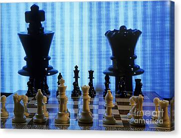 Chess Board With King And Queen Chess Pieces In Front Of Tv Scre Canvas Print by Sami Sarkis