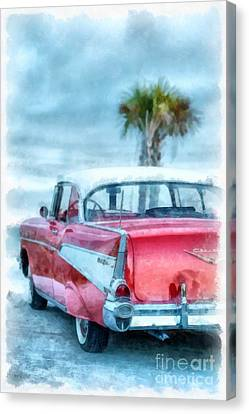 Chevy Belair At The Beach Watercolor Canvas Print by Edward Fielding