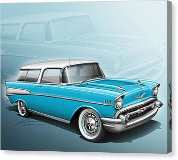 Chevy Nomad Wagon 1957 Canvas Print by Etienne Carignan