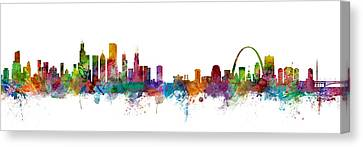 Chicago And St Louis Skyline Mashup Canvas Print by Michael Tompsett