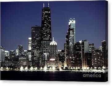 Chicago At Night High Resolution Canvas Print by Paul Velgos