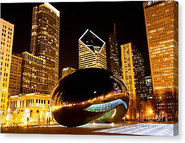 Chicago Bean Cloud Gate At Night Canvas Print by Paul Velgos