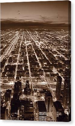 Chicago City Lights West B W Canvas Print by Steve Gadomski
