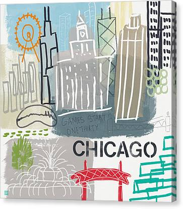 Chicago Cityscape- Art By Linda Woods Canvas Print by Linda Woods