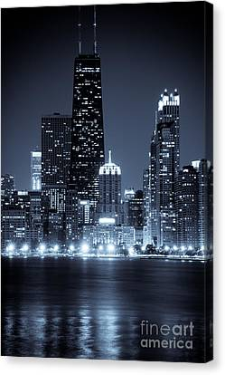 Chicago Cityscape At Night Canvas Print by Paul Velgos