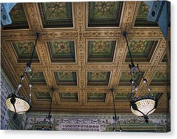 Chicago Cultural Center Staircase Ceiling Canvas Print by Thomas Woolworth
