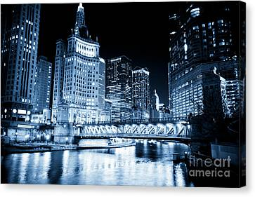Chicago Downtown Loop At Night Canvas Print by Paul Velgos