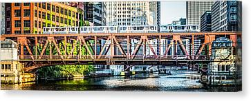 Chicago Lake Street Bridge L Train Panorama Canvas Print by Paul Velgos