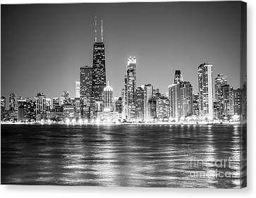 Chicago Lakefront Skyline Black And White Photo Canvas Print by Paul Velgos