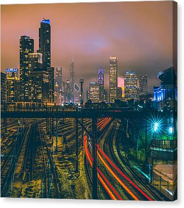 Chicago Night Skyline  Canvas Print by Cory Dewald