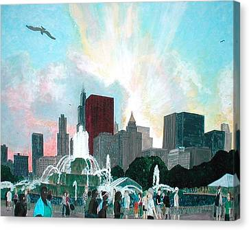 Chicago On The Fourth Canvas Print by Jacob Stempky