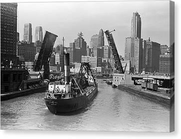Chicago River 1941 Canvas Print by Daniel Hagerman