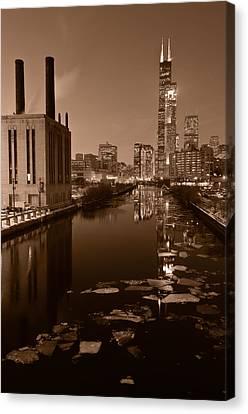 Chicago River B And W Canvas Print by Steve Gadomski