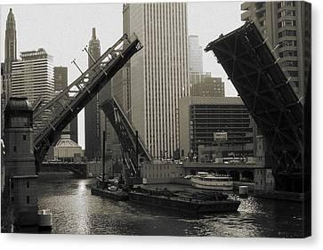 Chicago River Bridges - Photo Art Canvas Print by Art America Online Gallery