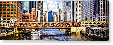 Chicago River Downtown Panorama Picture Canvas Print by Paul Velgos