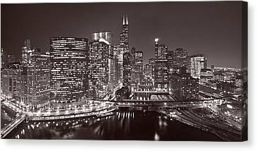Chicago River Panorama B W Canvas Print by Steve Gadomski