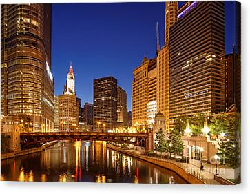 Chicago River Trump Tower And Wrigley Building At Dawn - Chicago Illinois Canvas Print by Silvio Ligutti