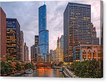 Chicago Riverwalk Equitable Wrigley Building And Trump International Tower And Hotel At Sunset  Canvas Print by Silvio Ligutti