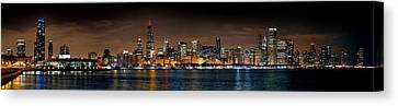 Chicago Skyline At Night Extra Wide Panorama Canvas Print by Jon Holiday