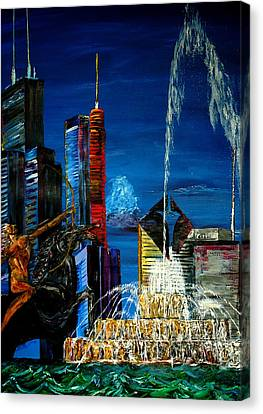 Chicago Skyline Buckingham Fountain Sears Tower Trump Tower Aon Building Canvas Print by Chicago Oil Paintings By Gregory A Page