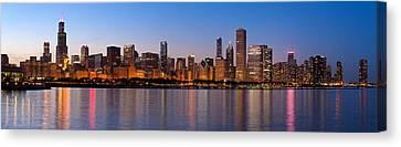 Chicago Skyline Evening Canvas Print by Donald Schwartz