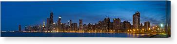Chicago Skyline From North Ave Beach Panorama Canvas Print by Steve Gadomski