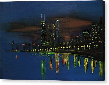 Chicago Skyline Impressionism Canvas Print by Chicago Oil Paintings By Gregory A Page