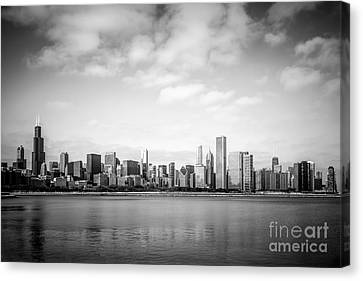 Chicago Skyline Lakefront Black And White Photo Canvas Print by Paul Velgos