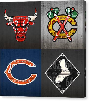 Chicago Sports Fan Recycled Vintage Illinois License Plate Art Bulls Blackhawks Bears And White Sox Canvas Print by Design Turnpike