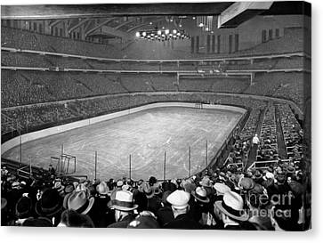 Chicago Stadium Prepared For A Chicago Blackhawks Game Canvas Print by Celestial Images