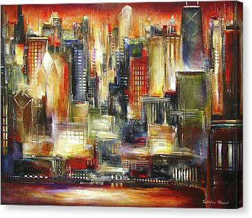 Chicago - The Sunset Skyline Canvas Print by Kathleen Patrick