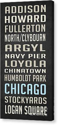 Chicago Vintage Subway Signs Canvas Print by Edward Fielding