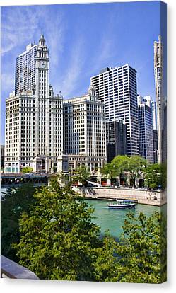 Chicago With Boat Canvas Print by Paul Bartoszek