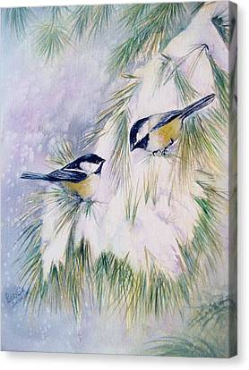 Chickadee Chat Canvas Print by Patricia Pushaw