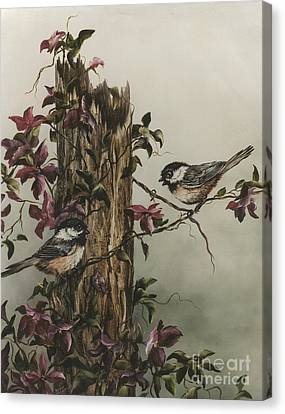 Chickadees Canvas Print by Jean Harrison