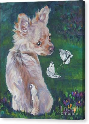 Chihuahua With Butterflies Canvas Print by Lee Ann Shepard