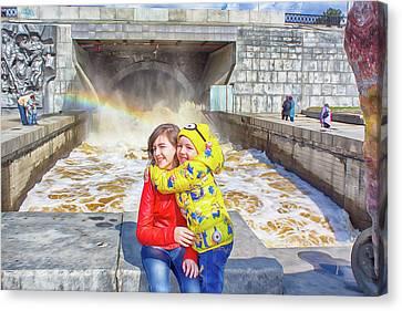 Children And A Rainbow Canvas Print by Tatiana Tyumeneva