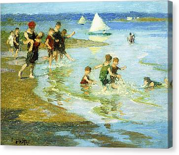 Children At Play On The Beach Canvas Print by Edward Henry Potthast