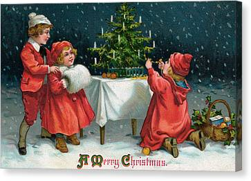 Children Decorating Christmas Tree In The Snow Canvas Print by American School