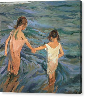 Children In The Sea Canvas Print by Joaquin Sorolla y Bastida
